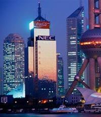 Viajes a China: Vista de Noche de Shangai.